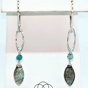 Labradorite, apatite and sterling silver earrings